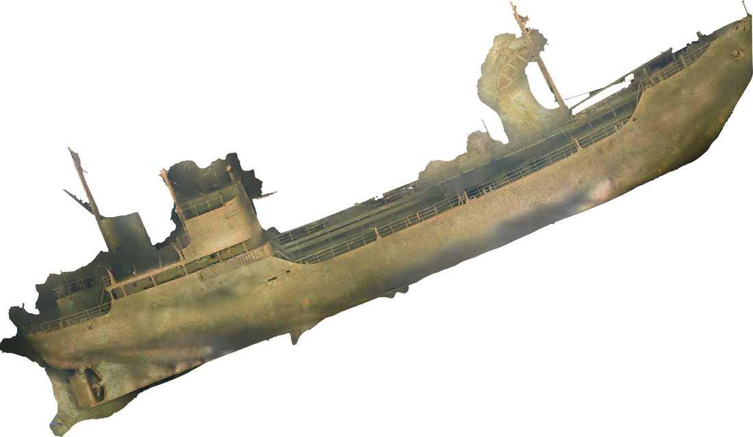 Bild av vraket Lindesnäs som sjönk utanför Oxelösund 1957. Framtaget genom fotogrammetri. Pressbild