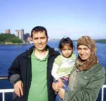 Min familj. På en spännande utflykt till Mariehamn. Det var den första gången vi åkte en båt.