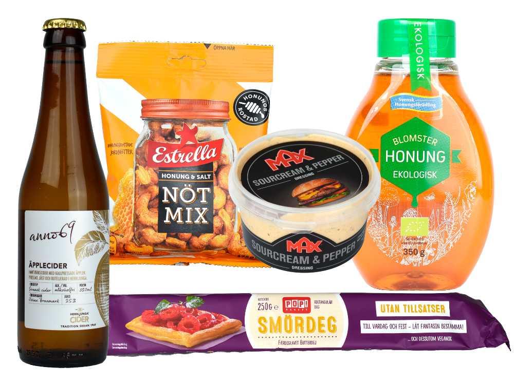 Honung, cider, smördeg, dressing och nötter är nominerade till Årets matbluff.