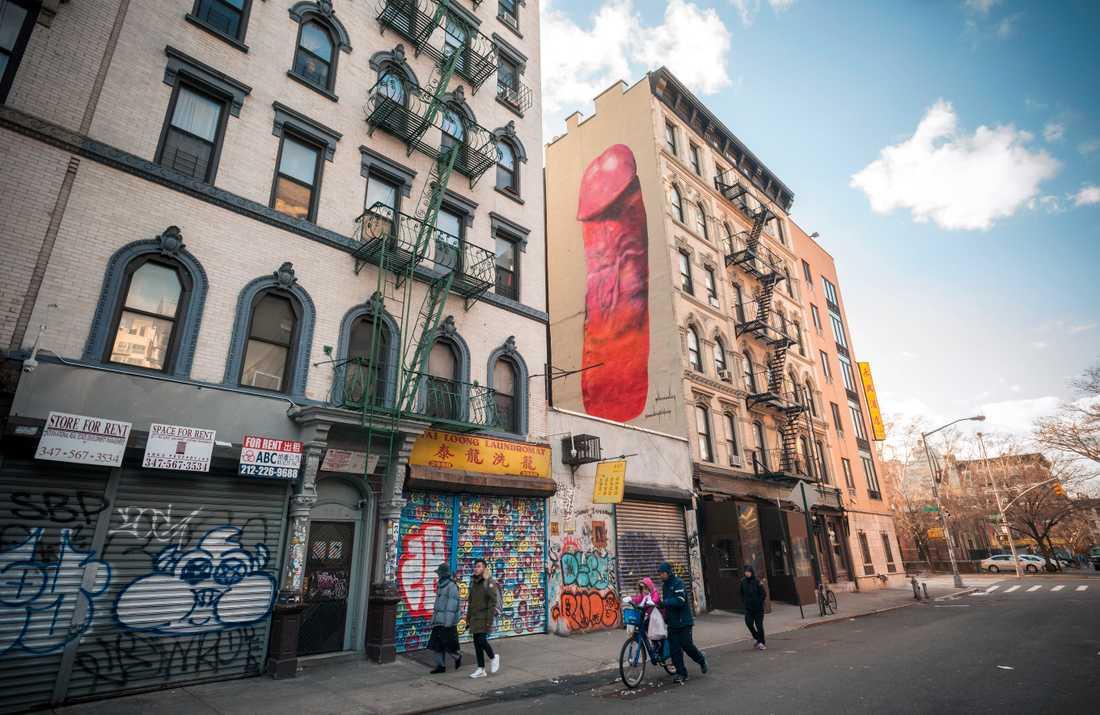 Konstnären Carolina Falkholt har tidigare målat en penis i New York.