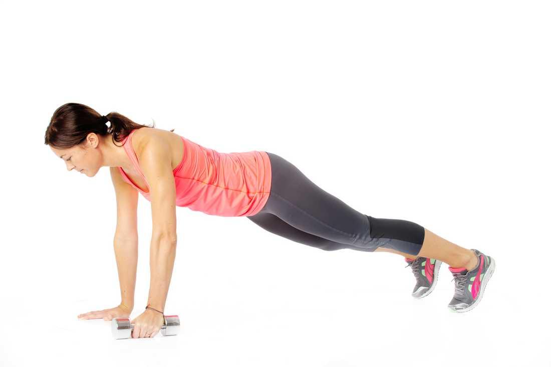 4 Plankrodd Så gör du: Utgå från armhävningsposition med anspänd bål.