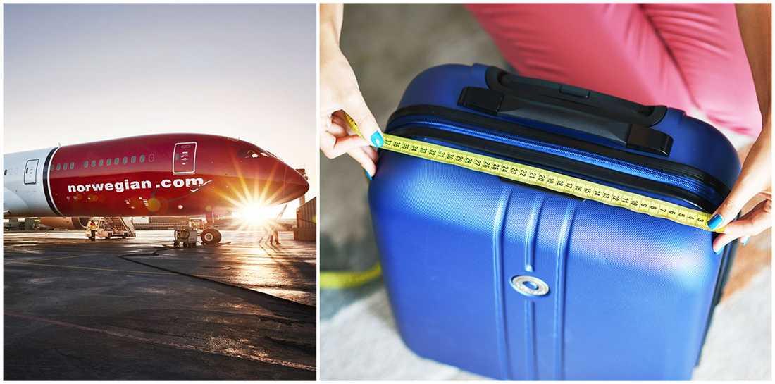 Ditt handbagage får väga max 10 kilo och ha måtten 55 x 40 x 23 cm .