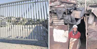 T.h. En gated community – ett välbärgat bostadsområde bakom stängsel. T.v. En kvinna utanför sitt hem i en kåkstad utanför Umtata i Sydafrika.
