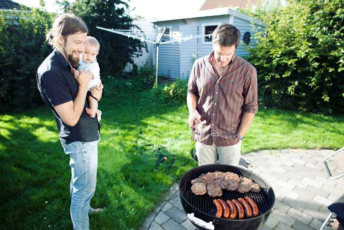 Anders (with friends) Society makes it easy for me to participate as a father, and actually, people in Sweden expect men to participate actively in their families.