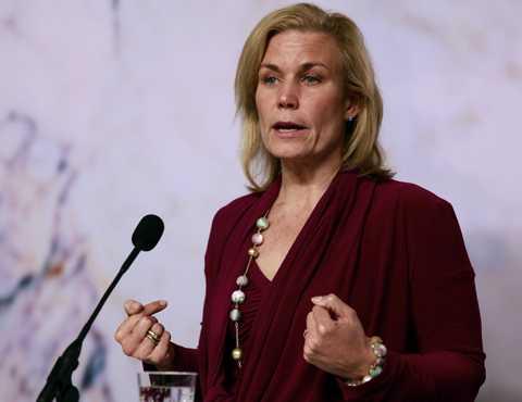 Biståndsminister Gunilla Carlsson höll presskonferens.