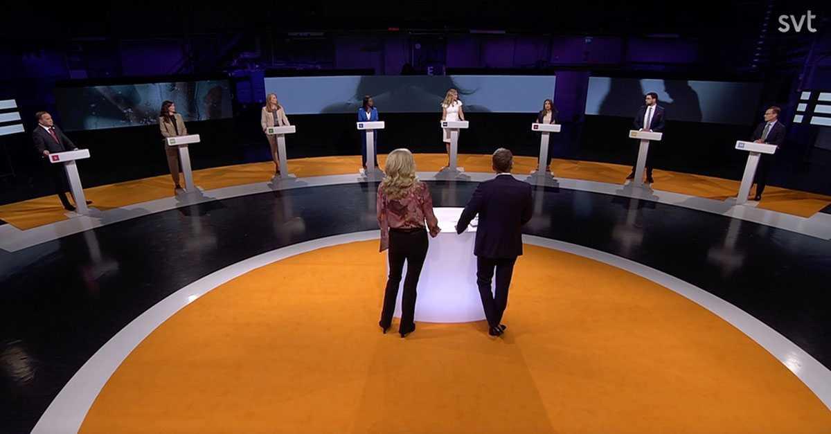 Partiledardebatten i SVT Agenda söndagen den 2 maj.