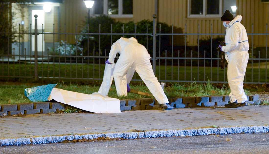 Polisens tekniker tog en bräda i beslag efter överfallet på en ung kvinna i Malmö.