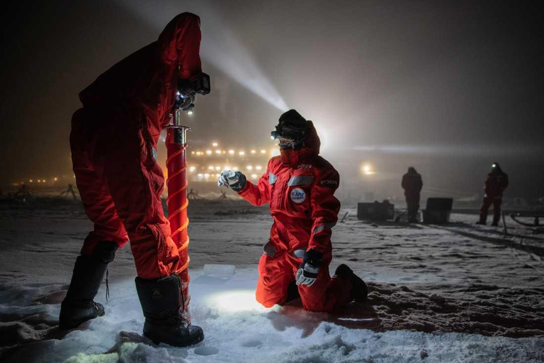 Adam Ulfsbo tar prover på havsvattnet ner till 4000 meters djup och borrar iskärnor. Här är några av hans kollegor ute på isen och tar prover för sina forskningsprojekt.