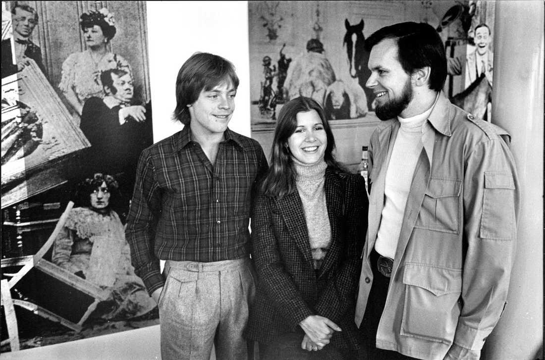 Star Wars-producenten Gary Kurtz i Sverige tillsammans med skådespelarna Carrie Fisher och Mark Hamill.