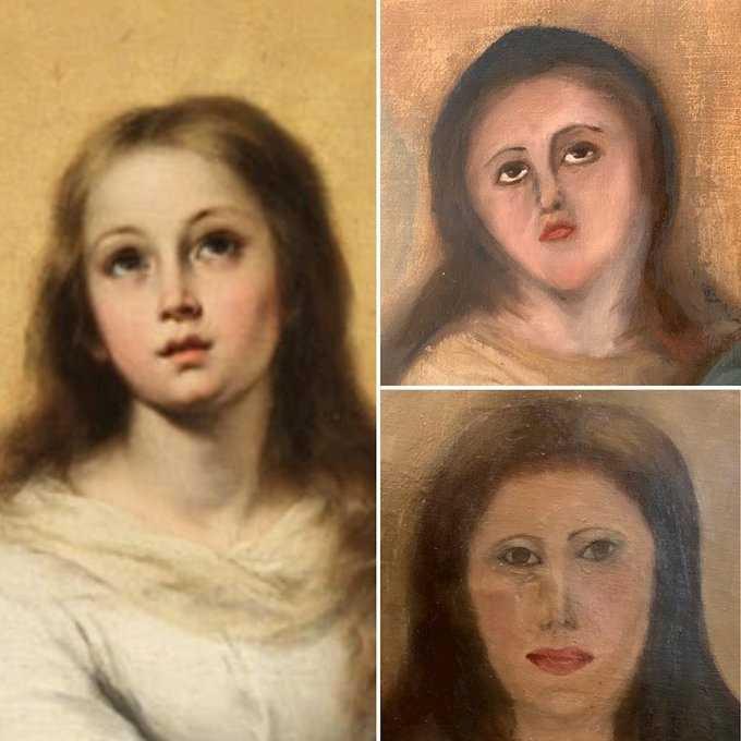 Originalmålningen av Jungfru Maria (till vänster). Och de två försöken till att få målningen att likna originalet.