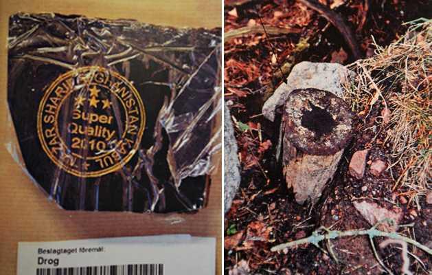 Gömde under stubben Det var när mannen skulle leverera knarket till markgömman på bilden till höger som han greps. Polisen kunde sedan säkra mannens fingeravtryck på narkotikan till vänster.
