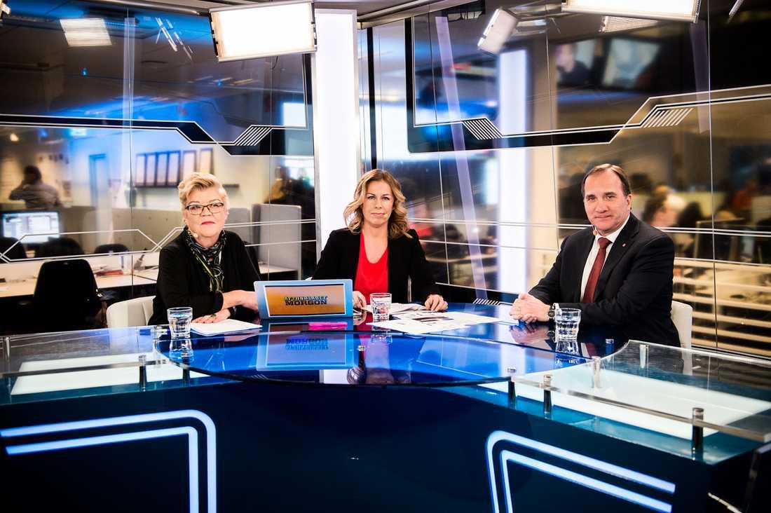 Lena Mellin, Maria Bjaring och Stefan Löfven i Adtonbladets studio.