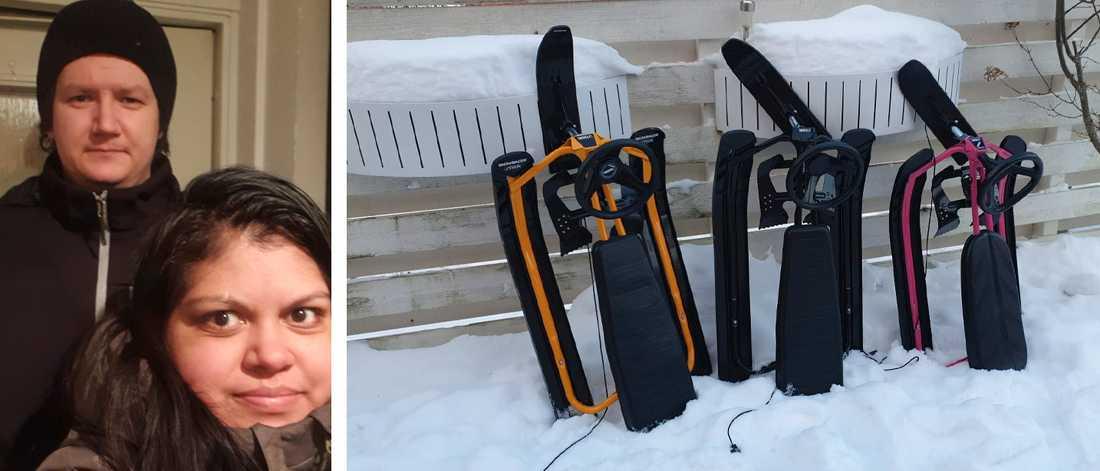 David och Monica Rönnerdag-Nystrand. Familjens tre snowracers.