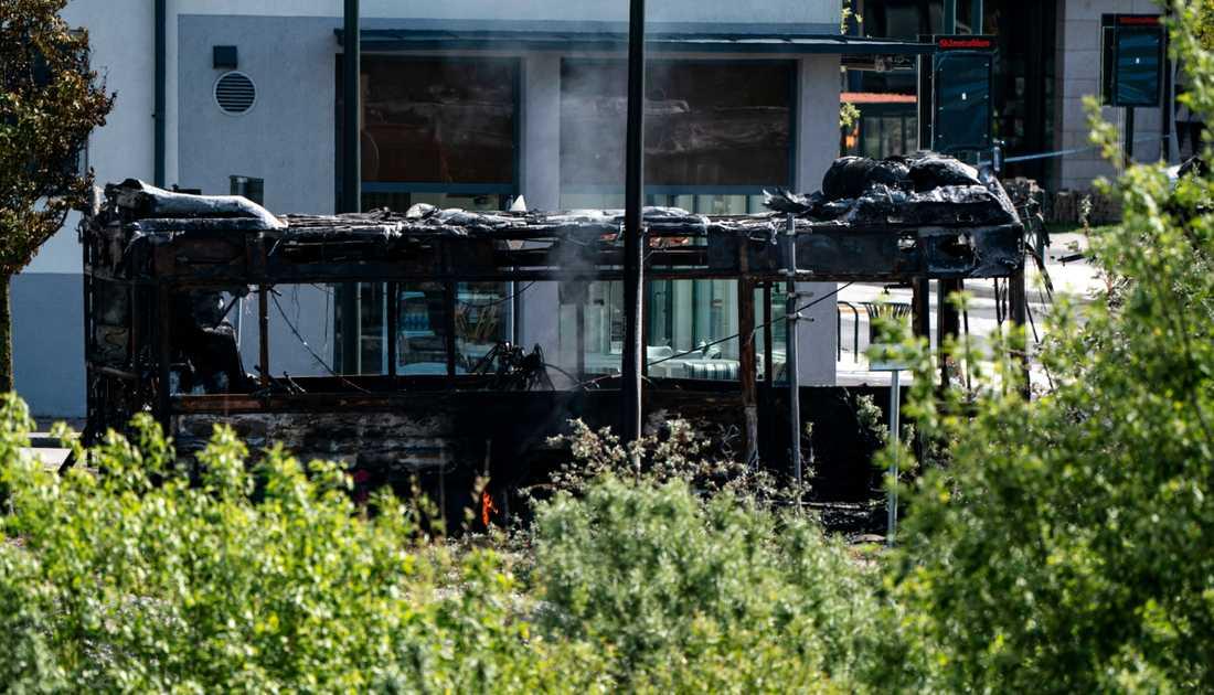 Arkivbild. En gasbuss brann i Malmö i slutet av maj i år. På fredagen brann en gasbuss även i Helsingborg. Br