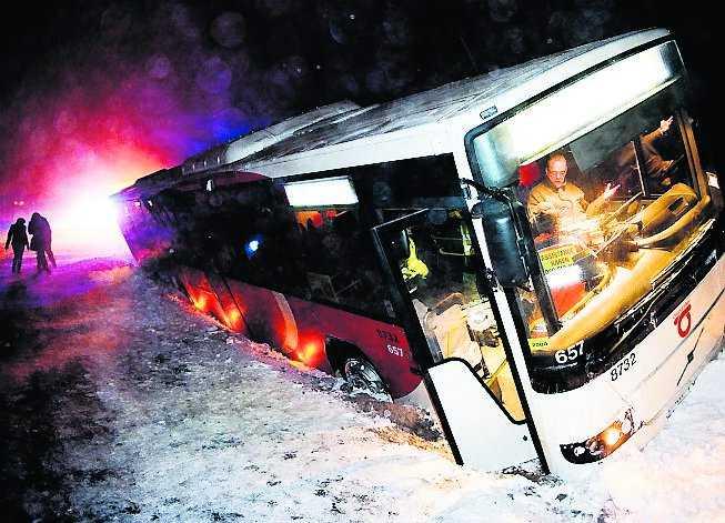 kimstad En linjebuss körde av vägen vid Kimstad utanför Norrköping. Vägarna var glashala och vindarna hårda.