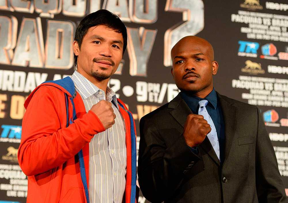 Manny Pacquiao (t.v.) och Tim Bradley möts på lördag.