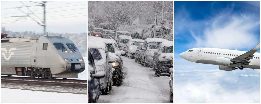 Så här ser trafikläget ut i jul på vägar, spår och i luften.