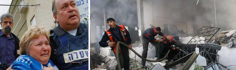 En israelisk kvinna tas omhand efter en palestinsk raketattack och palestinska brandmän försöker släcka en brand efter ett israeliskt flyganfall.