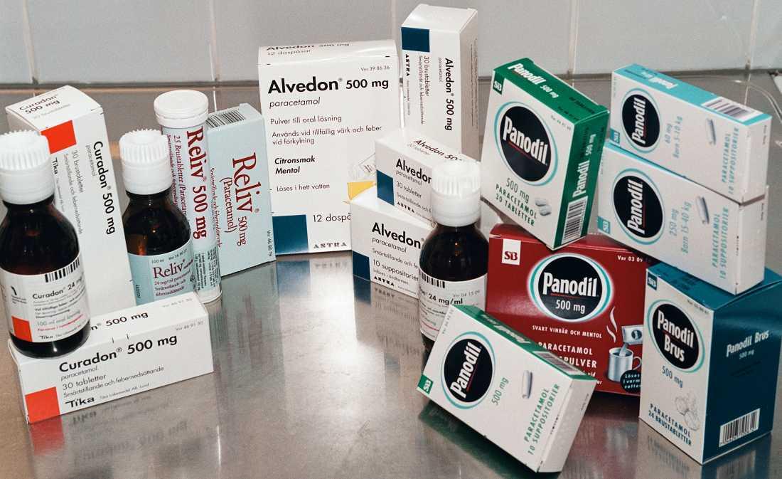 Vanliga läkemedel med paracetamol.
