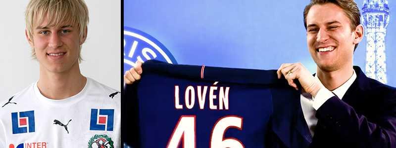 Zebastian Lovén 2007 i ÖSK – och i PSG i dag.