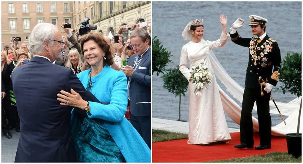 今年夏天,国王和王后已结婚44年。 他们于1976年6月19日在斯德哥尔摩的大教堂结婚。