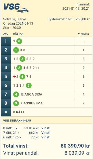 Sportbladets tv-rad som prickade 8 rätt under onsdagskvällen. En andel i systemet kostade 144 kronor och nettovinsten, per andel, blev 7 895 kronor.