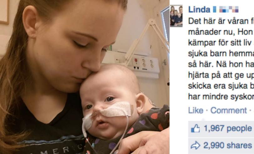 Mamma Linda tillsammans med lilla Milly. Linda hoppas att hennes uppmaning ska få föräldrar att inte lämna sina sjuka barn på förskolan. Foto: Privat/Faksimil/Montage