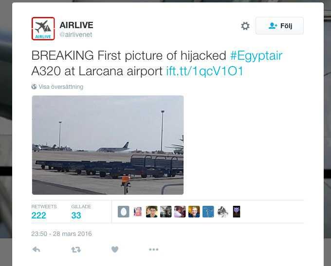 Ett kapat passagerarplan har nödlandat på Larnacas flygplats på Cypern.