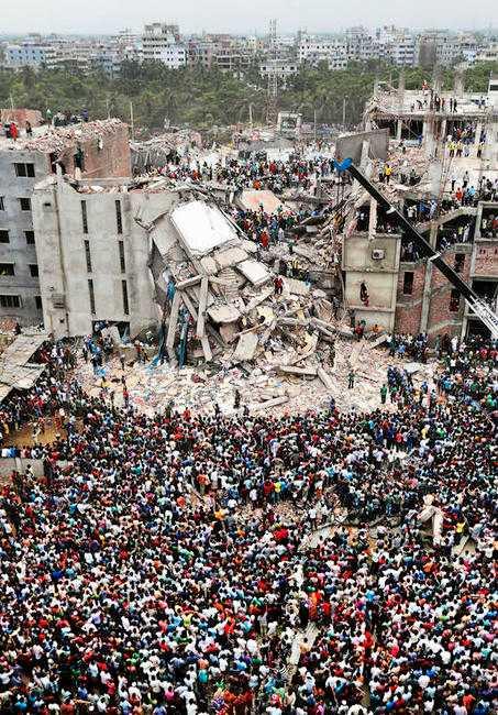 Textilfabriken i Bangladesh kollapsade i förrgår. Minst 238 dödades.