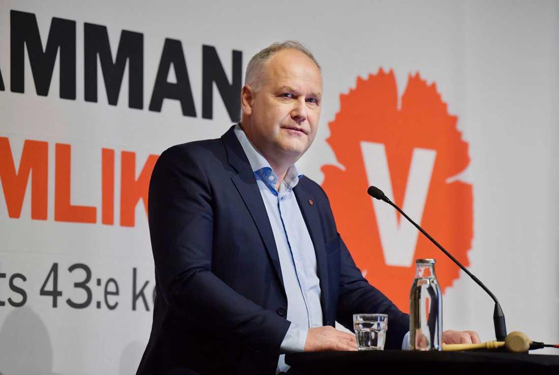 Vänsterpartiets avgående partiledare Jonas Sjöstedt håller tal en sista gång när Vänsterpartiet håller kongress på Hilton hotell i Stockholm.