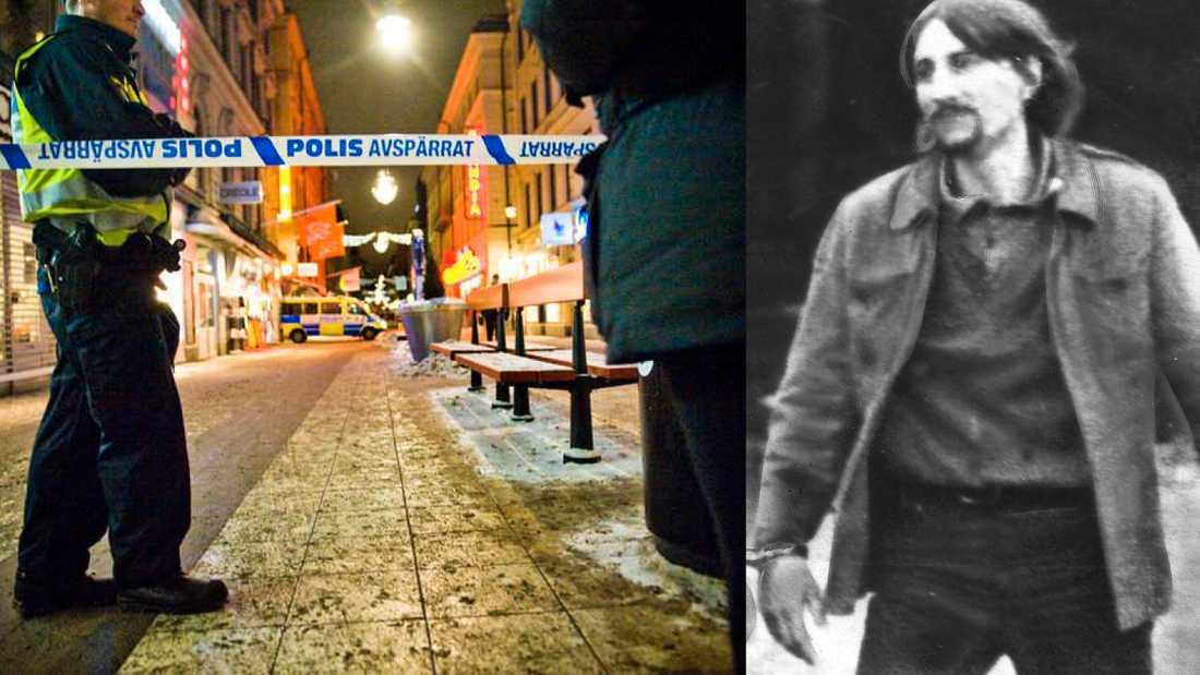 Självmordsattentatet på Bryggargatan var inte det första i Sverige. Till höger: Karl-Heinz Dellwo en av terroristerna när västtyska ambassaden attackerades 1975.