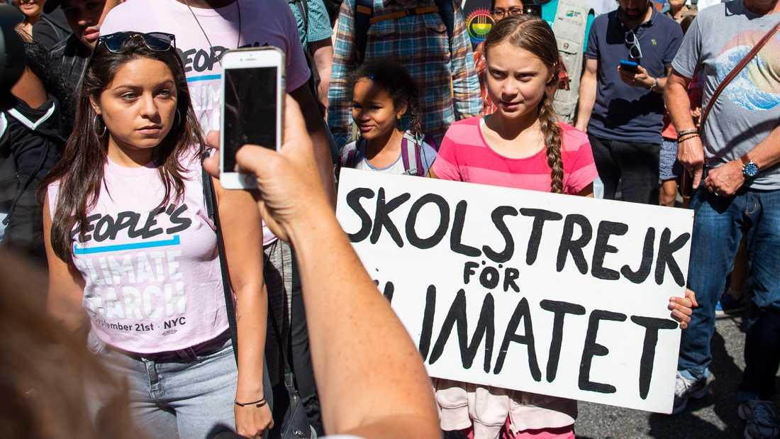 Greta Thunberg är i New York för att delta i klimatdemonstrationer.