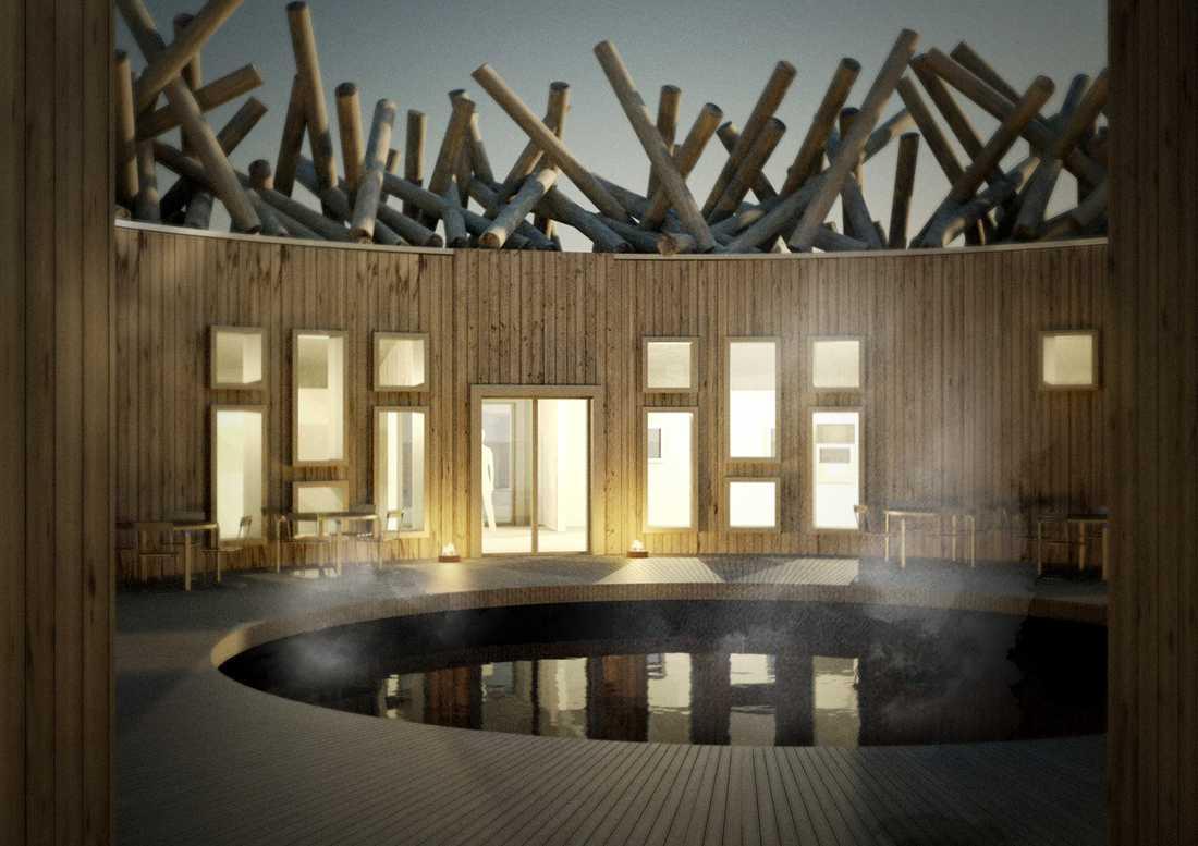 Här syns kallbadet i mitten omgiven av hotellrum, lounge, bastubad och behandlingsrum.