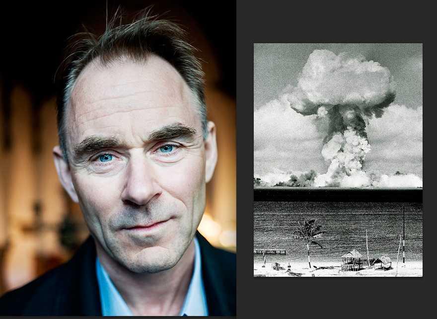 Sverker Sörlin, miljöhistoriker (foto: Sofia Runarsdotter). Till höger: USA testspränger en atombomb vid Bikiniatollen 1946 (foto AP).