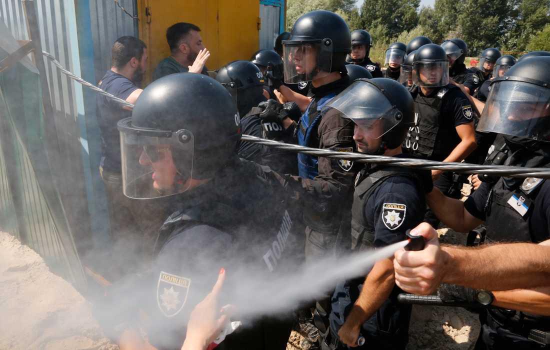 Protester utbröt under måndagen i Ukrainas huvudstad Kiev där sju poliser skadades. Arkivbild.