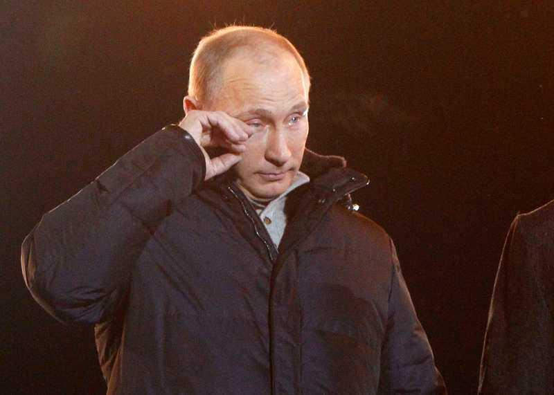 Putin i tårar under sitt segertal.
