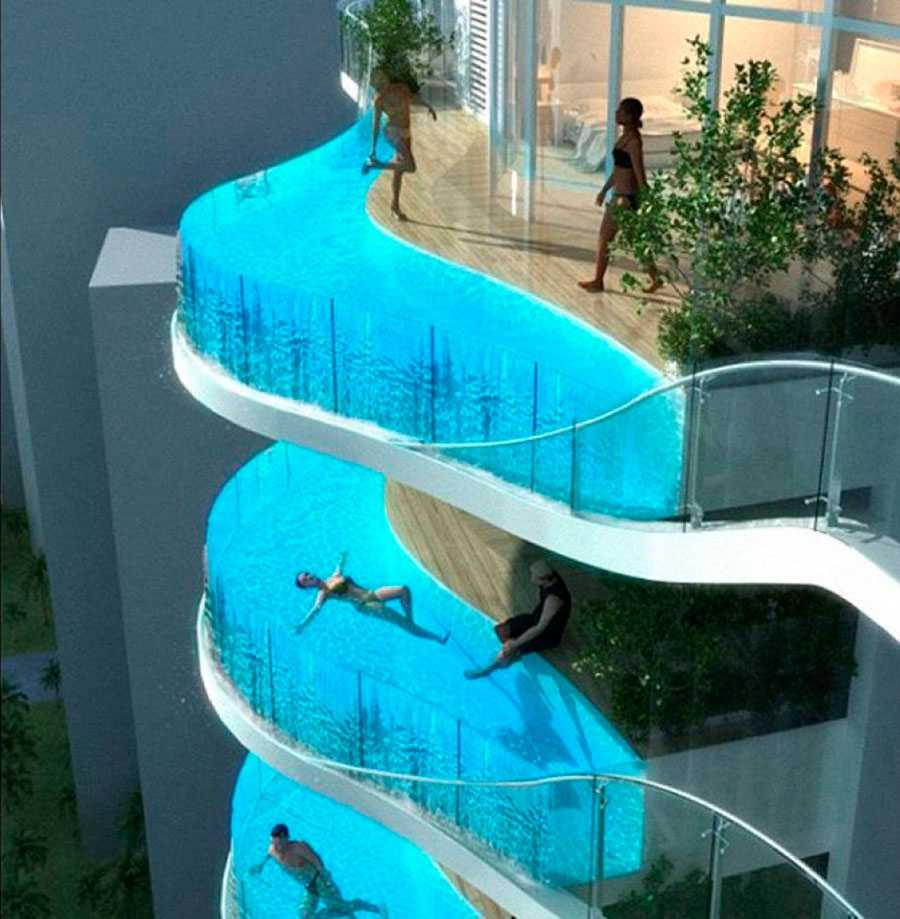 AQUARIA GRANDE, BOMBAY, INDIEN Köper du en lägenhet i det exklusiva bostadskomplexet Aquaria Grande i Bombay kan du få en egen oändlighetspool på balkongen.