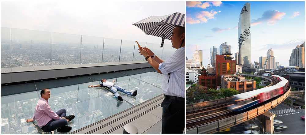 Vågar du kliva ut på det stora glasgolvet Mahanakhon SkyWalk i Bangkok?