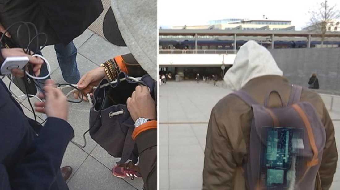 I armen placerades en antenn och i ryggsäcken mottagaren som sedan kunna skanna av kontokort på flera olika platser i Uppsala.