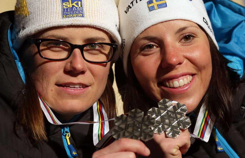 Charlotte Kalla tog tillsammans med Ida Ingemarsdotter silver i lagsprinten under VM i Val di Fiemme 2013