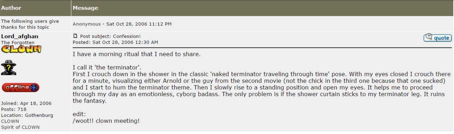 Inlägg på spelsajten Clownguild där Fogelklou beskriver en morgonrutin som en scen ur filmen Terminator.