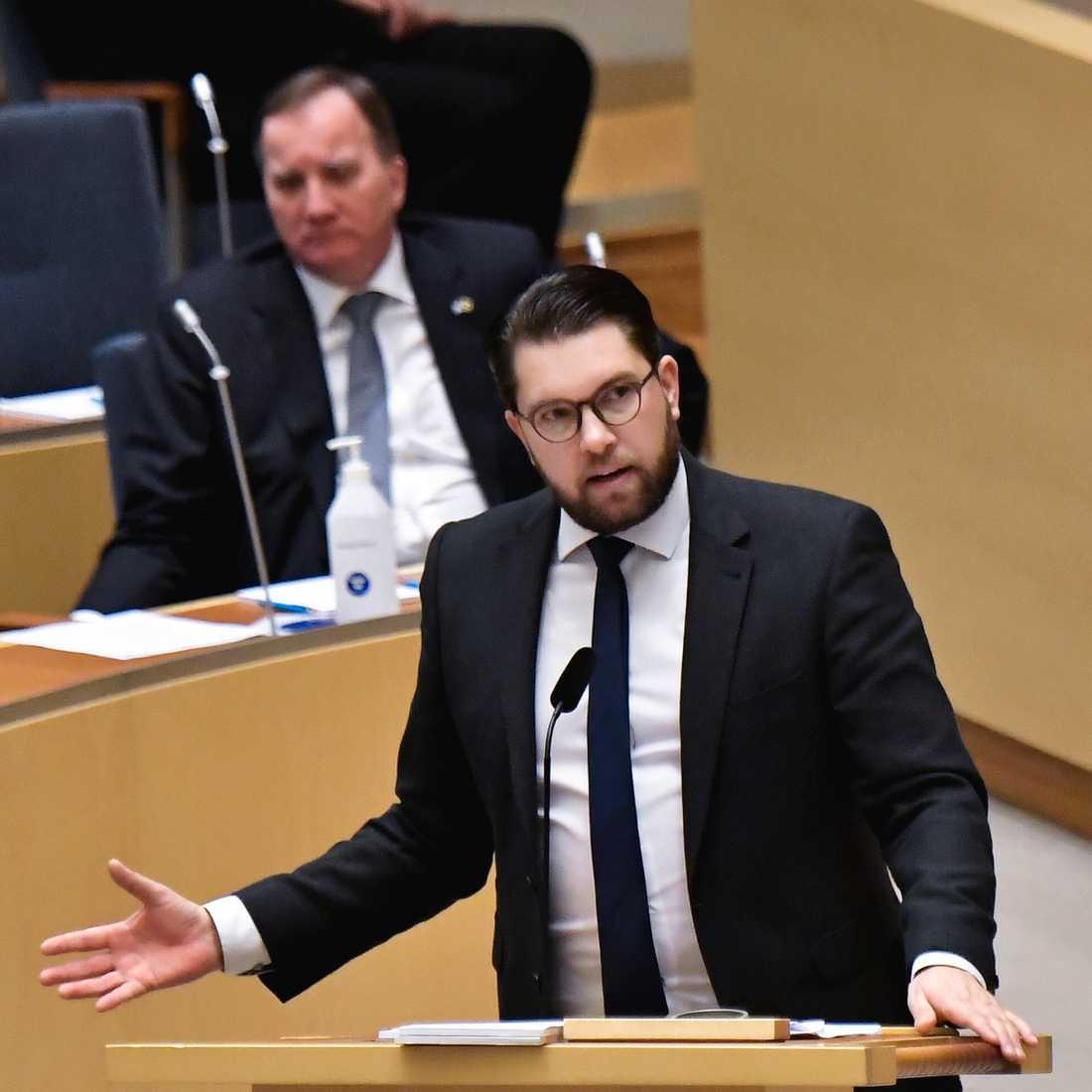 Sverigedemokraternas partiledare Jimmie Åkesson (SD) under dagens partiledardebatt i riksdagen. Foto: Janerik Henriksson / TT