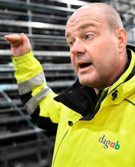 Peter Axelsson, platschef på Dagabs nya färskvarulagar utanför Jönköping.
