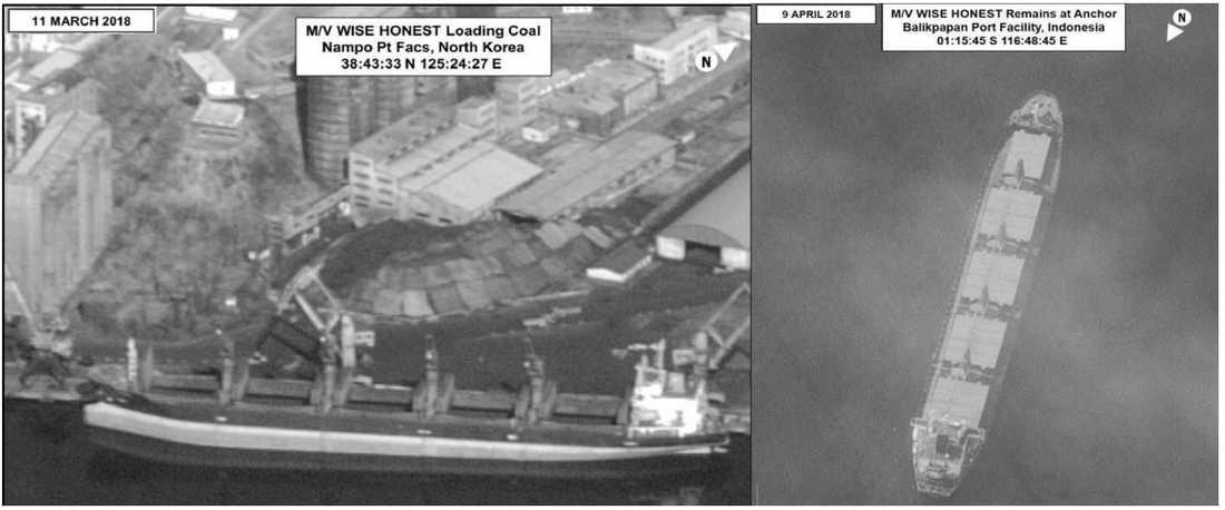 Satellitbild på det nordkoreanska fartyget.