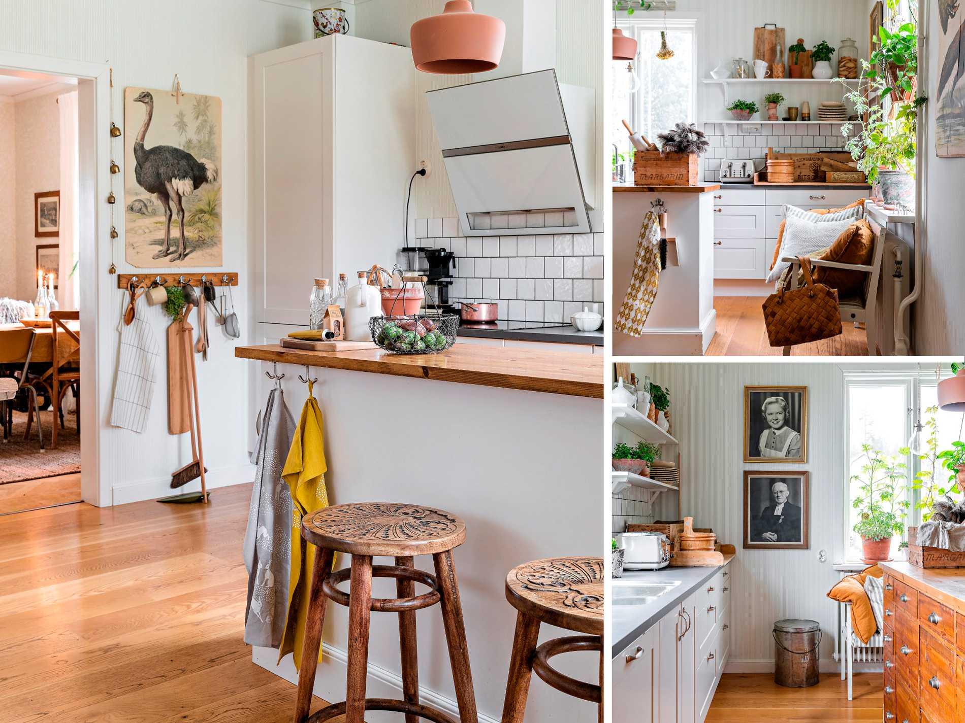 Den egendesignade köksön har byggts av en gammal köpmandisk som tidigare stod i Fridas  gammelfarmors lanthandel. Pallarna kommer från Ellos. Skolplanschen och knoppbrädan är  loppisfynd.