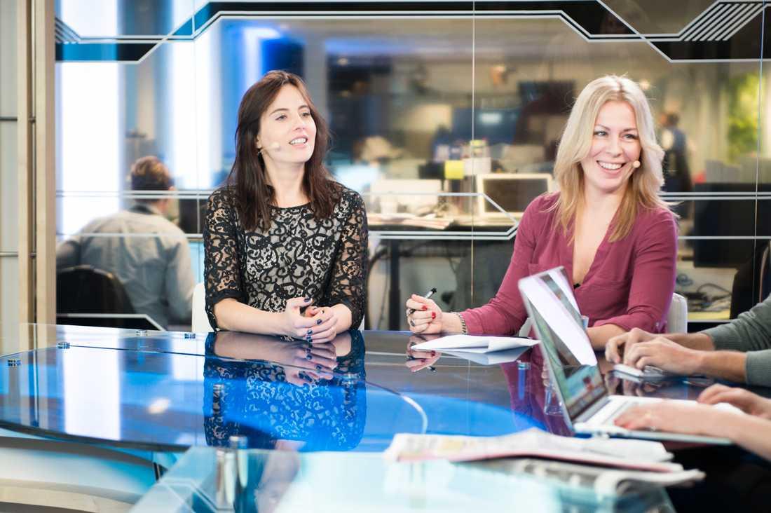 """""""Aftonbladet morgon"""" testkör. Natalia Kazmierska och Maria Bjaring, journalist Sverige Aftonbladet,"""