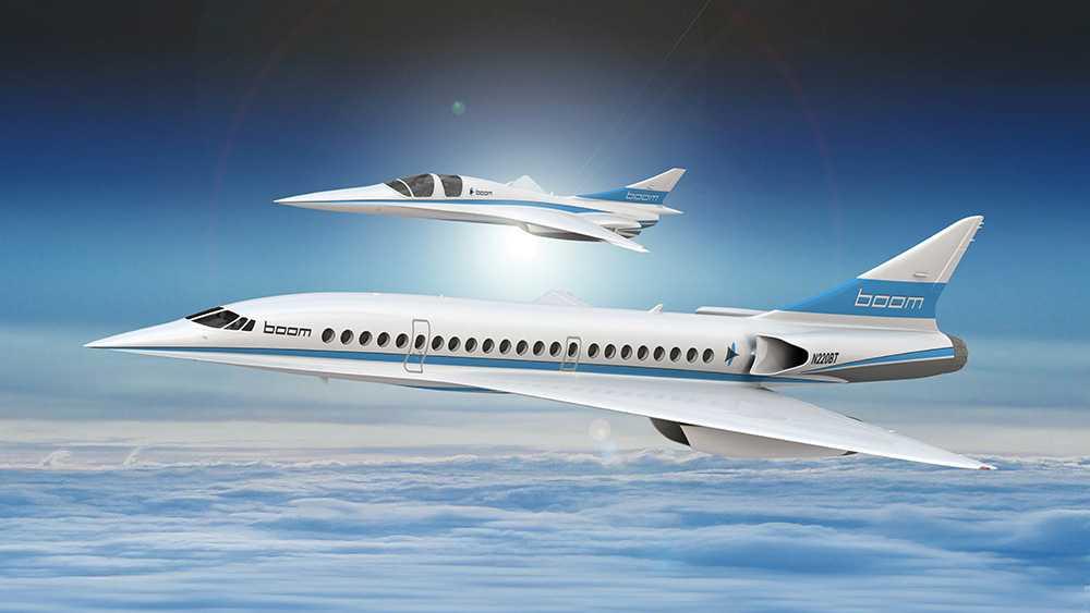 """Så här kommer """"Boom Supersonic"""" att se ut i framtiden. Planet har plats för 55 passagerare och flyger med överljudsfart."""