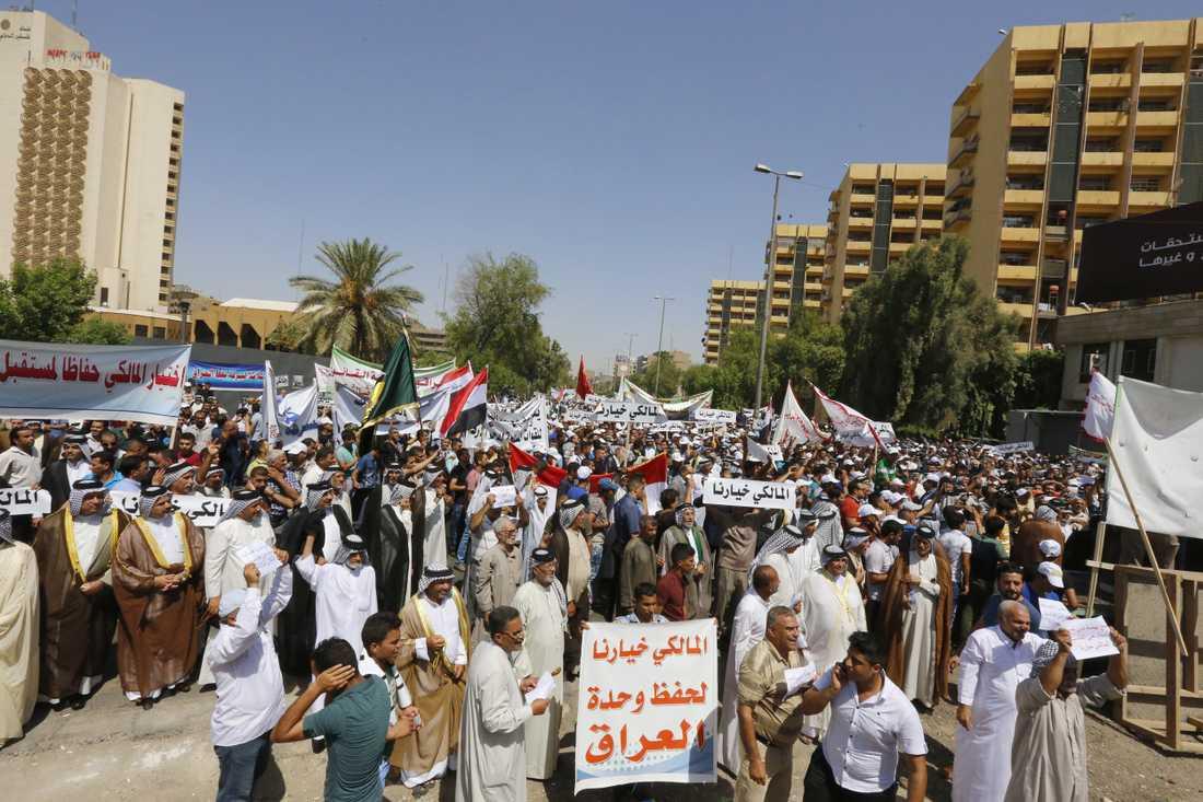 Demonstration till stöd för premiärminister Nuri al-Maliki.