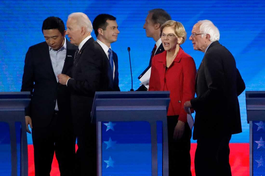 Aspirerande presidentkandidaterna Andrew Yang, Joe Biden, Pete Buttigieg, Tom Steyer, Elizabeth Warren och Bernie Sanders. Michael Bloomberg deltog inte i debatten.