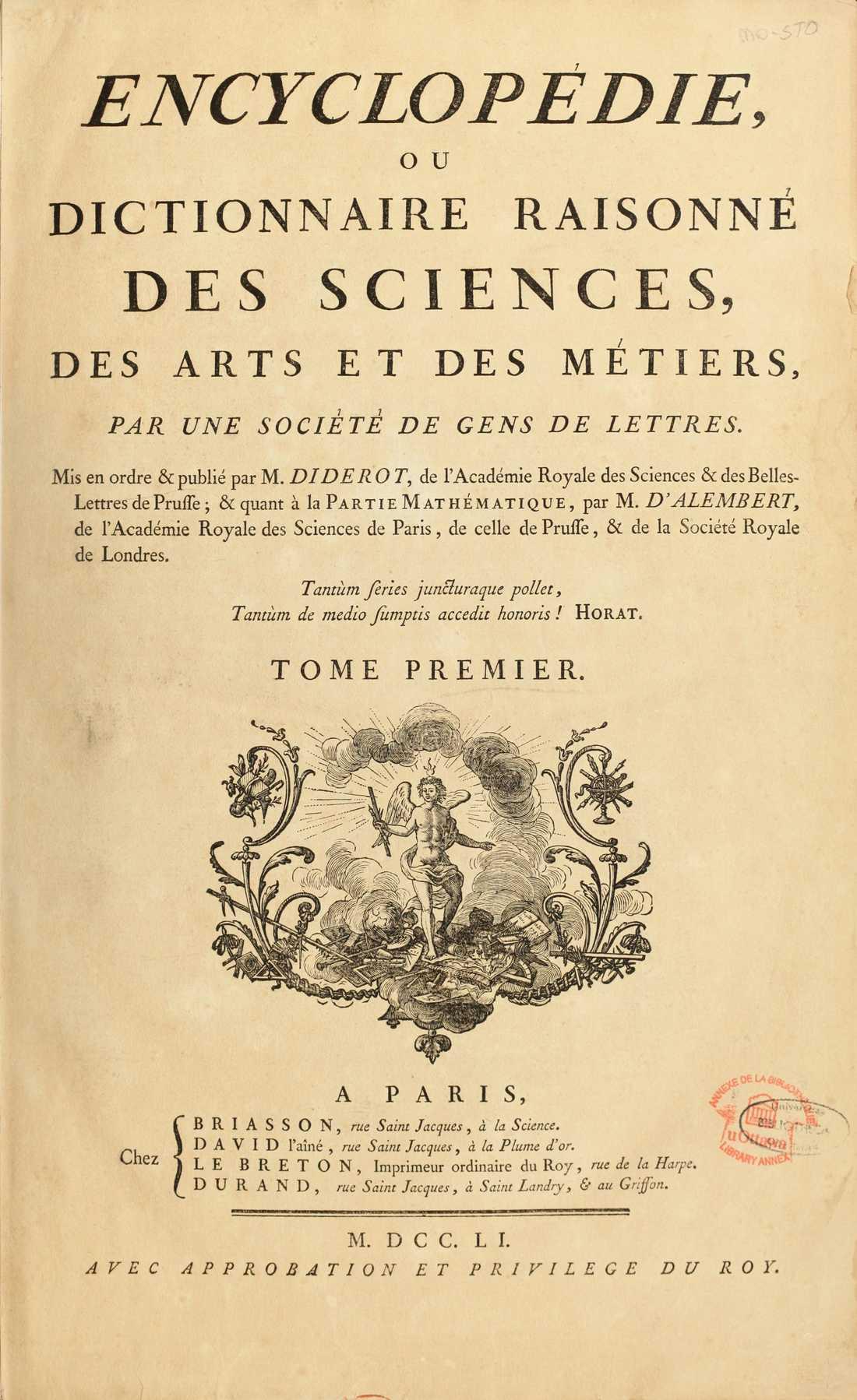Försättsbladet till den första utgåvan av Encyklopedin.